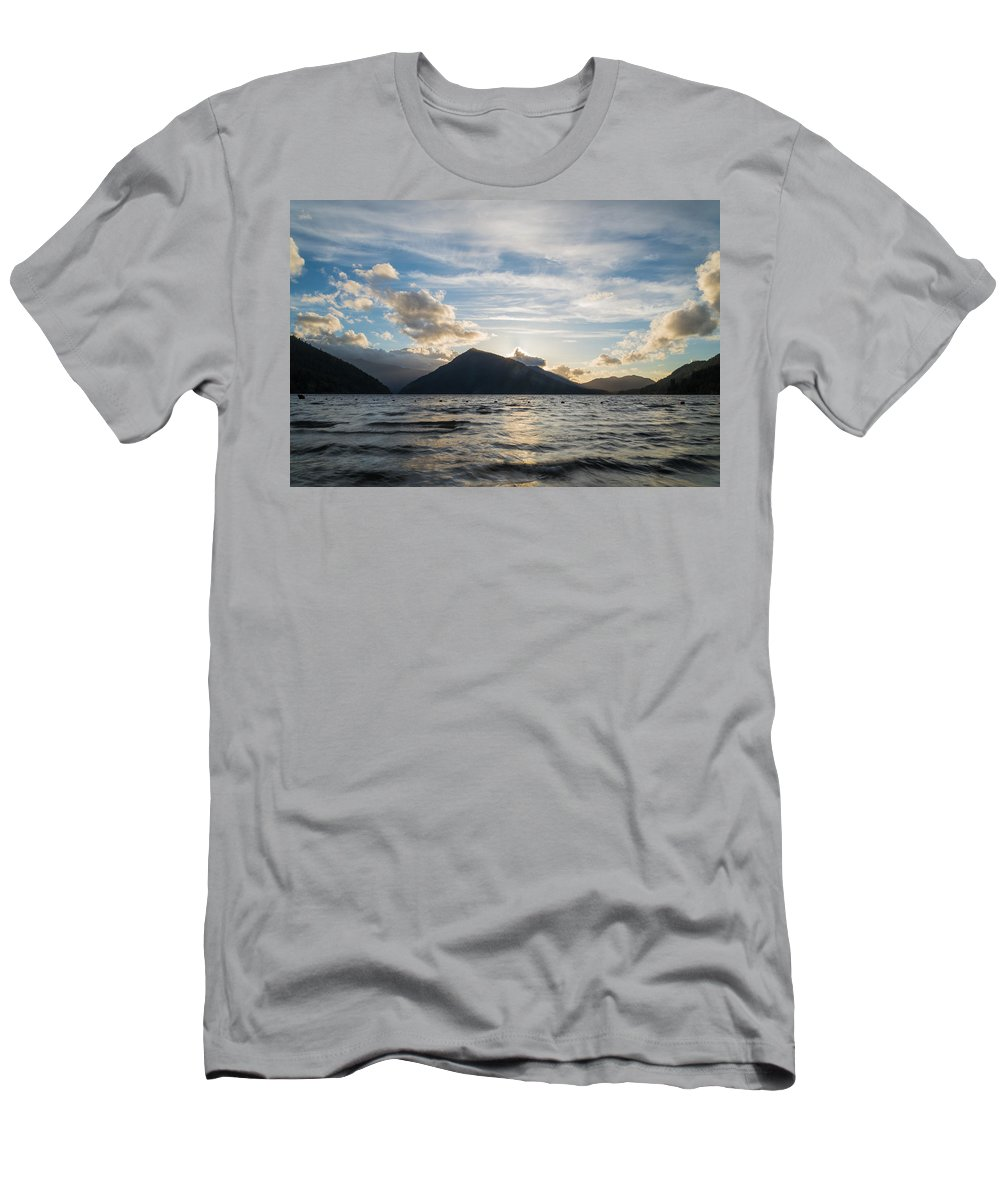 Olympic National Park Men's T-Shirt (Athletic Fit) featuring the photograph Lake Side by Kristopher Schoenleber