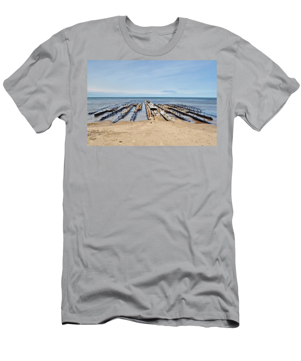 Lake Superior Men's T-Shirt (Athletic Fit) featuring the photograph Lake Superior Shipwreck by Kathryn Lund Johnson