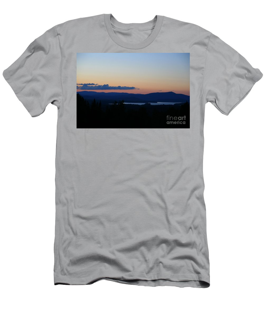 Framed Prints Men's T-Shirt (Athletic Fit) featuring the photograph Lake Umbagog After Sunset  by Neal Eslinger