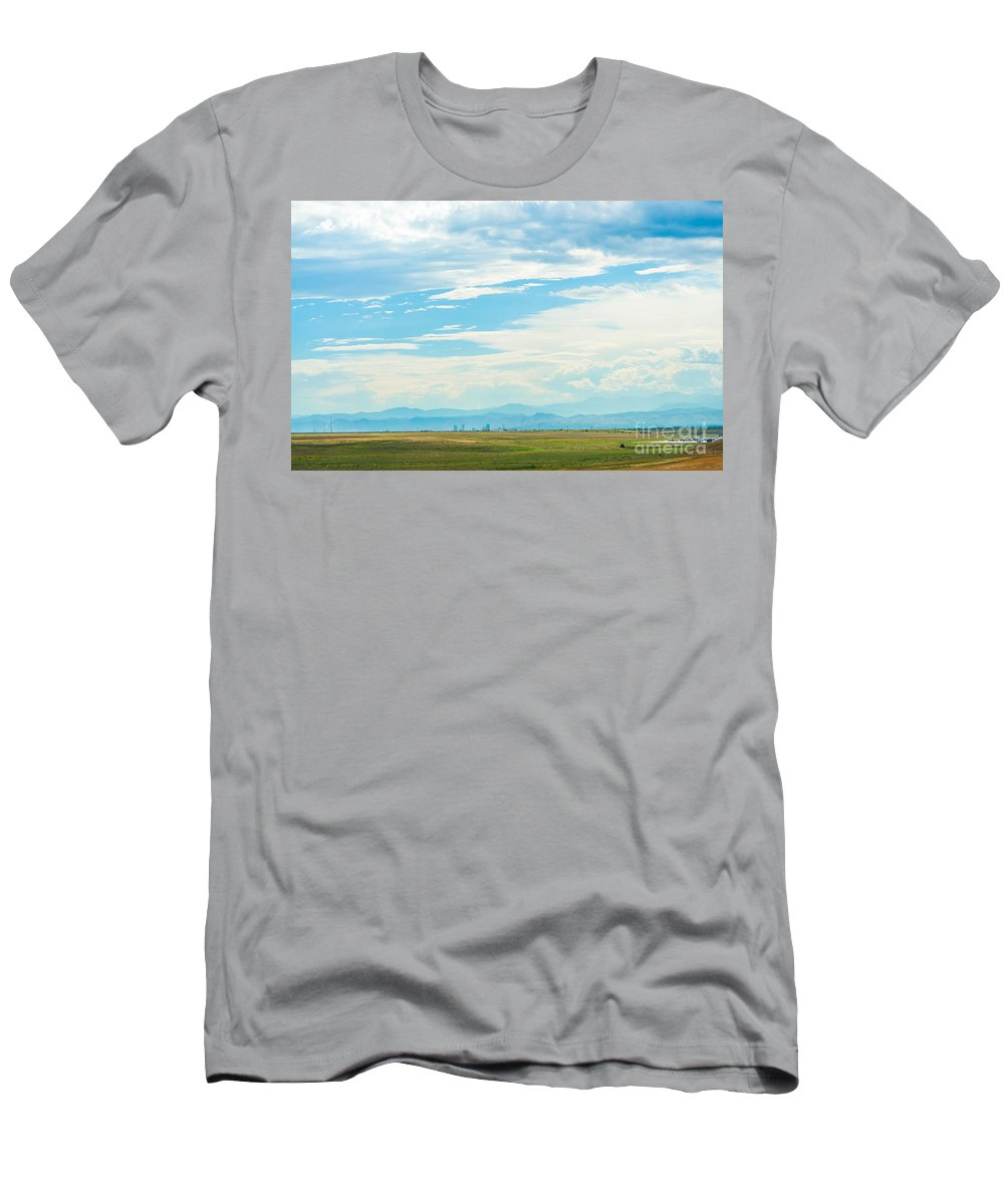 Road Men's T-Shirt (Athletic Fit) featuring the photograph Landscape Of Denver Colorado by Amel Dizdarevic