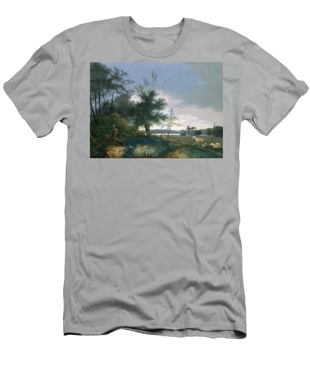 Sheep Men's T-Shirt (Athletic Fit) featuring the painting Landscape With A Fox Chasing Geese by Joseph August Knip