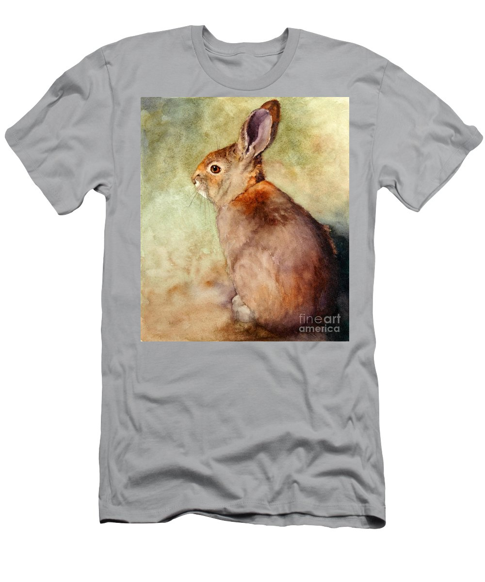 Rabbit Men's T-Shirt (Athletic Fit) featuring the painting Lapin by Bonnie Rinier