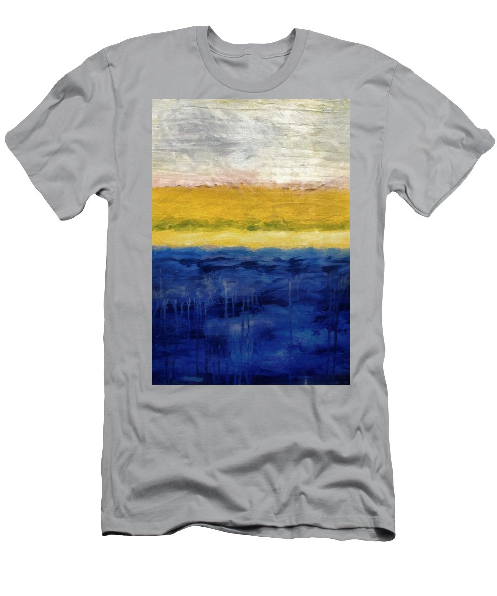 Oceanside T-Shirt featuring the painting Lapis And Gold Get Married by Michelle Calkins