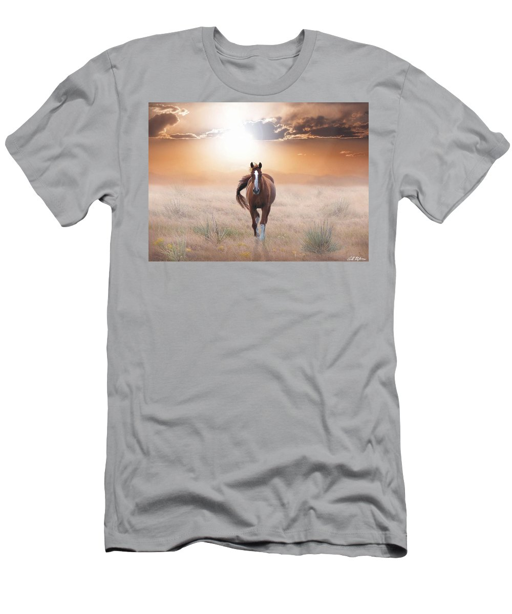 Horses Men's T-Shirt (Athletic Fit) featuring the digital art Lassie Come Home by Bill Stephens