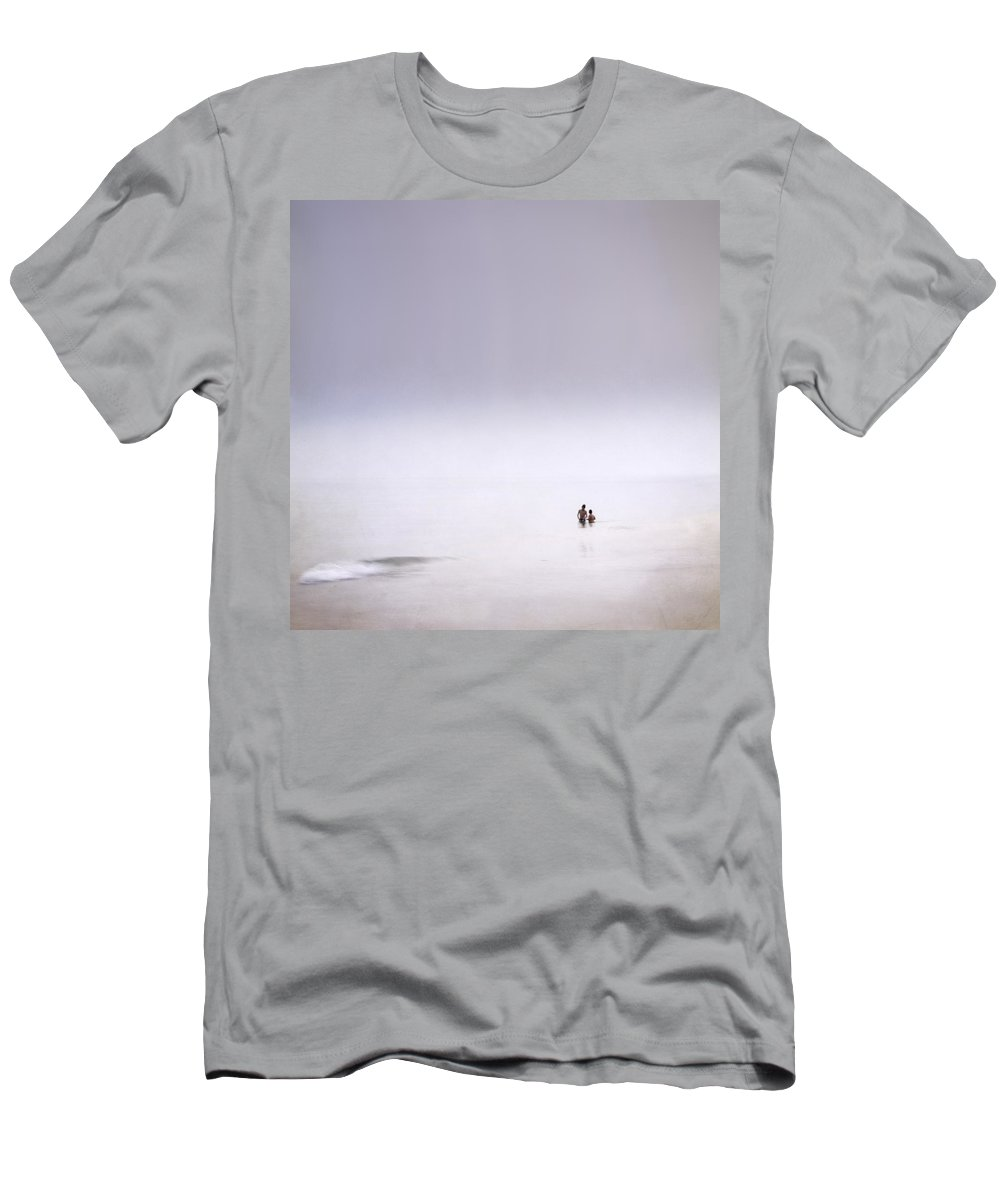 Landscape Men's T-Shirt (Athletic Fit) featuring the photograph Last Swing Of The Day At The Foggy Beach by Guido Montanes Castillo
