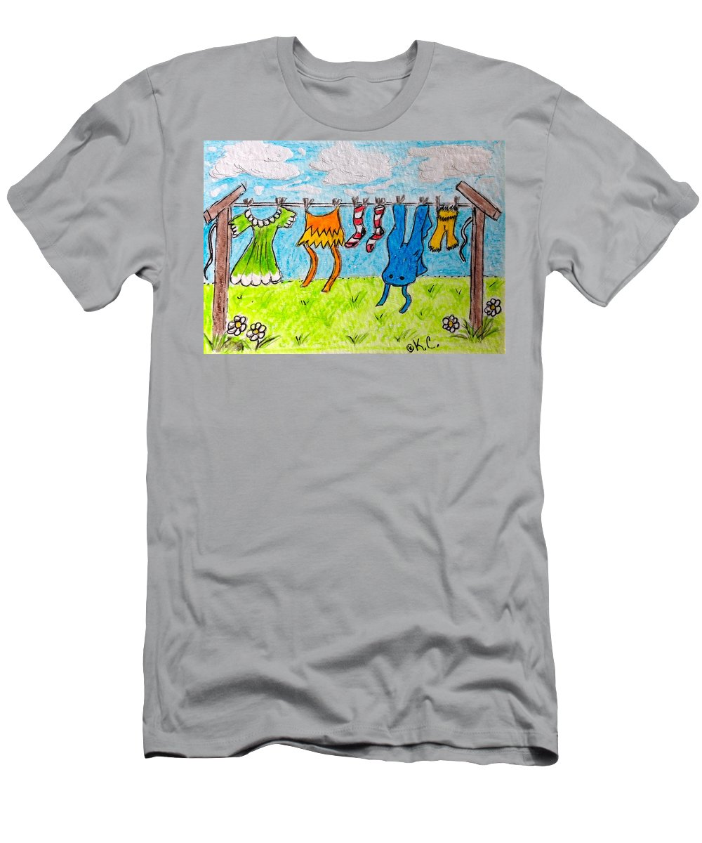 Laundry Men's T-Shirt (Athletic Fit) featuring the painting Laundry Day by Kathy Marrs Chandler