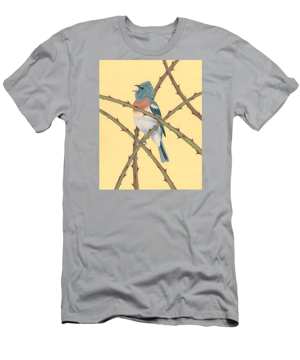 Painting Men's T-Shirt (Athletic Fit) featuring the painting Lazuli Bunting by Nathan Marcy