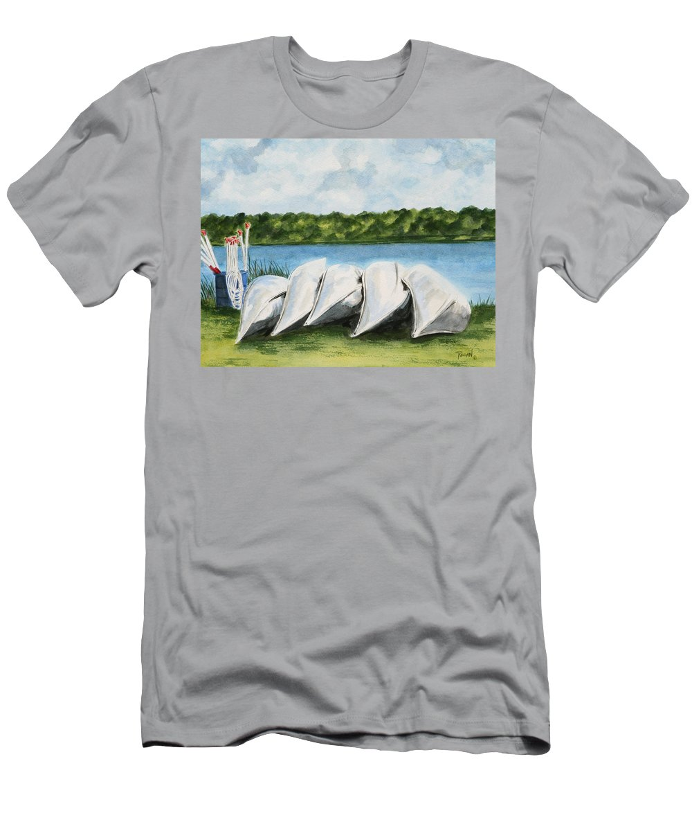 Canoes T-Shirt featuring the painting Lazy River by Regan J Smith