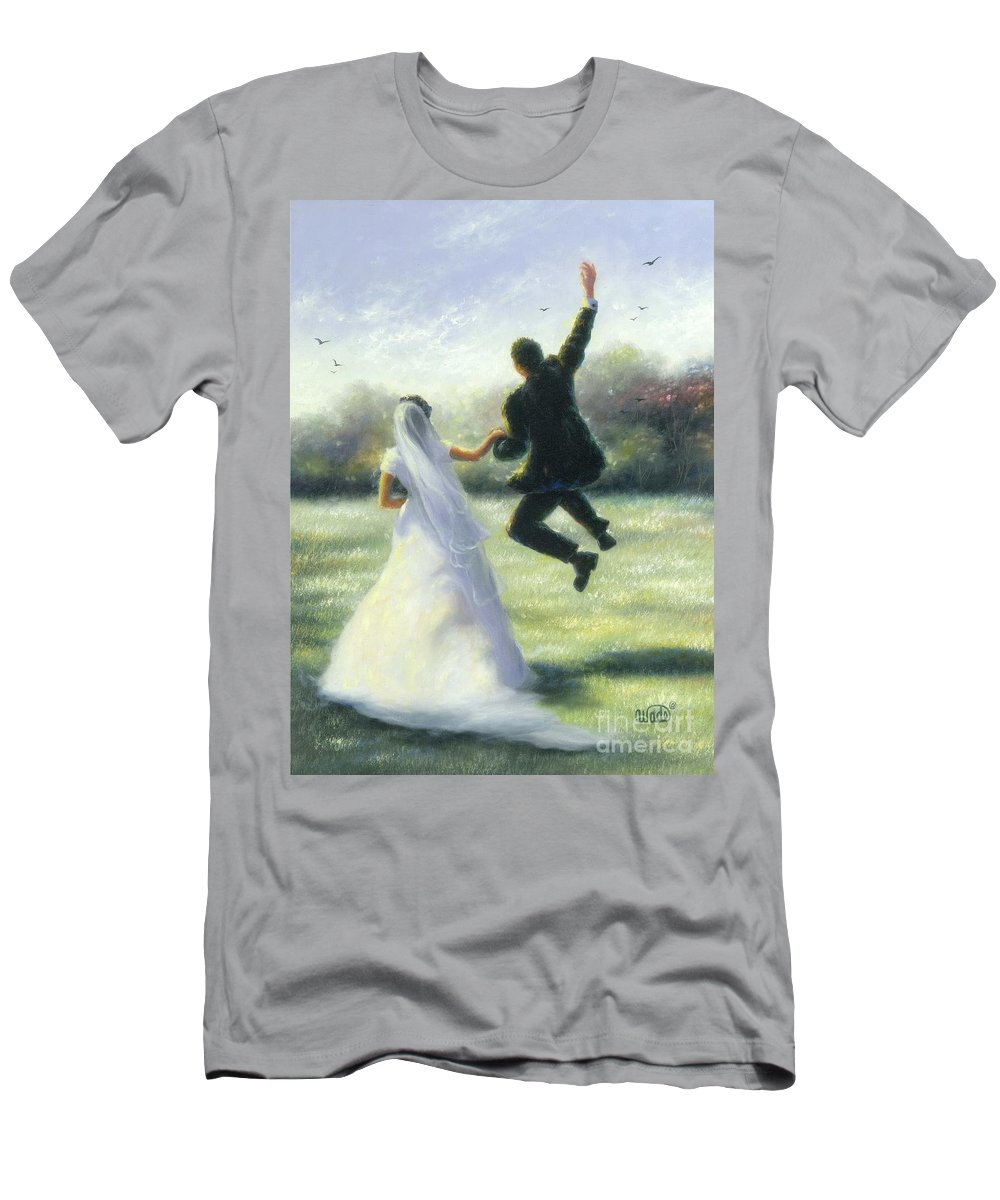 Bride And Groom Men's T-Shirt (Athletic Fit) featuring the painting Leap Of Love by Vickie Wade