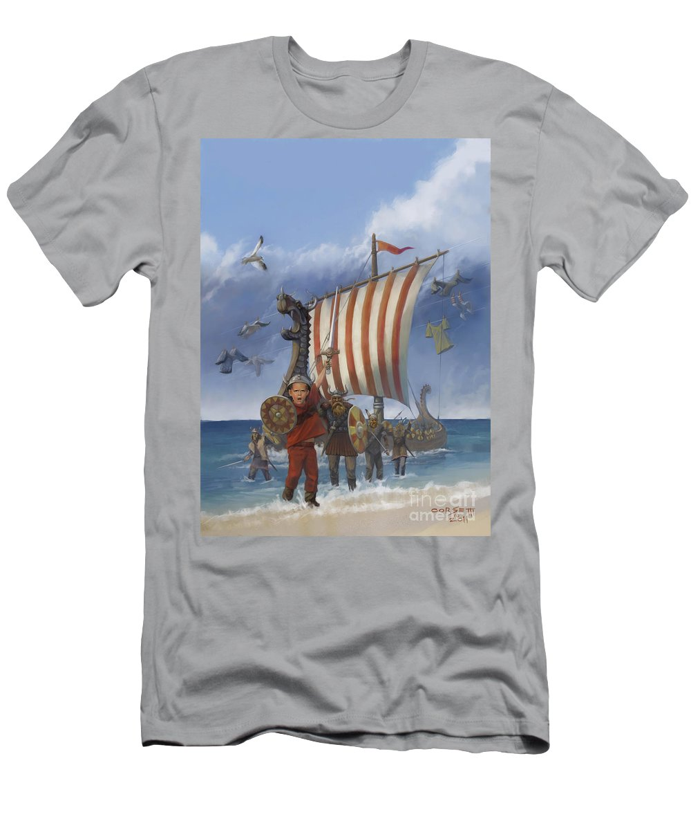 Viking Men's T-Shirt (Athletic Fit) featuring the painting Legendary Viking by Rob Corsetti
