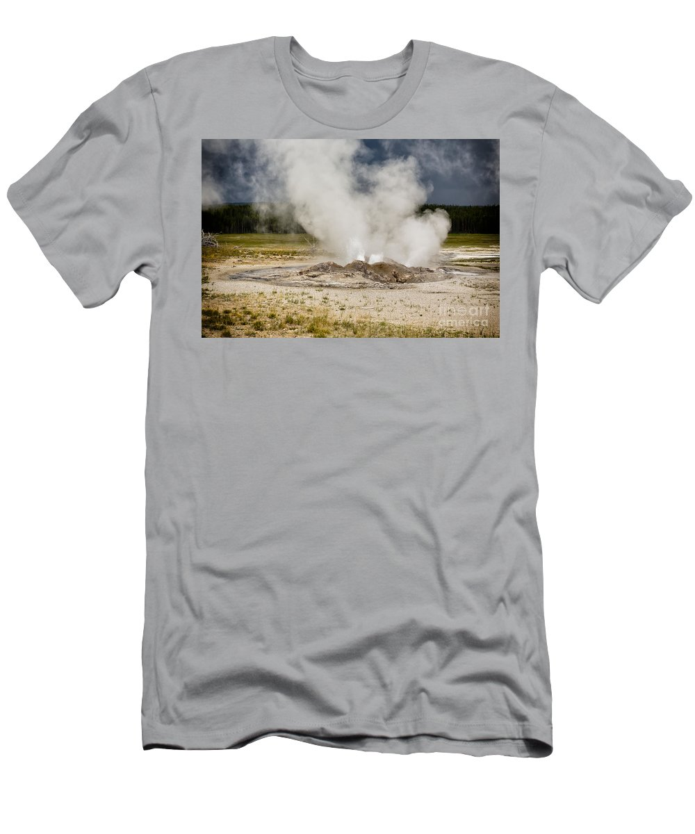 Paint Pots Men's T-Shirt (Athletic Fit) featuring the photograph Letting Off Steam - Yellowstone by Belinda Greb