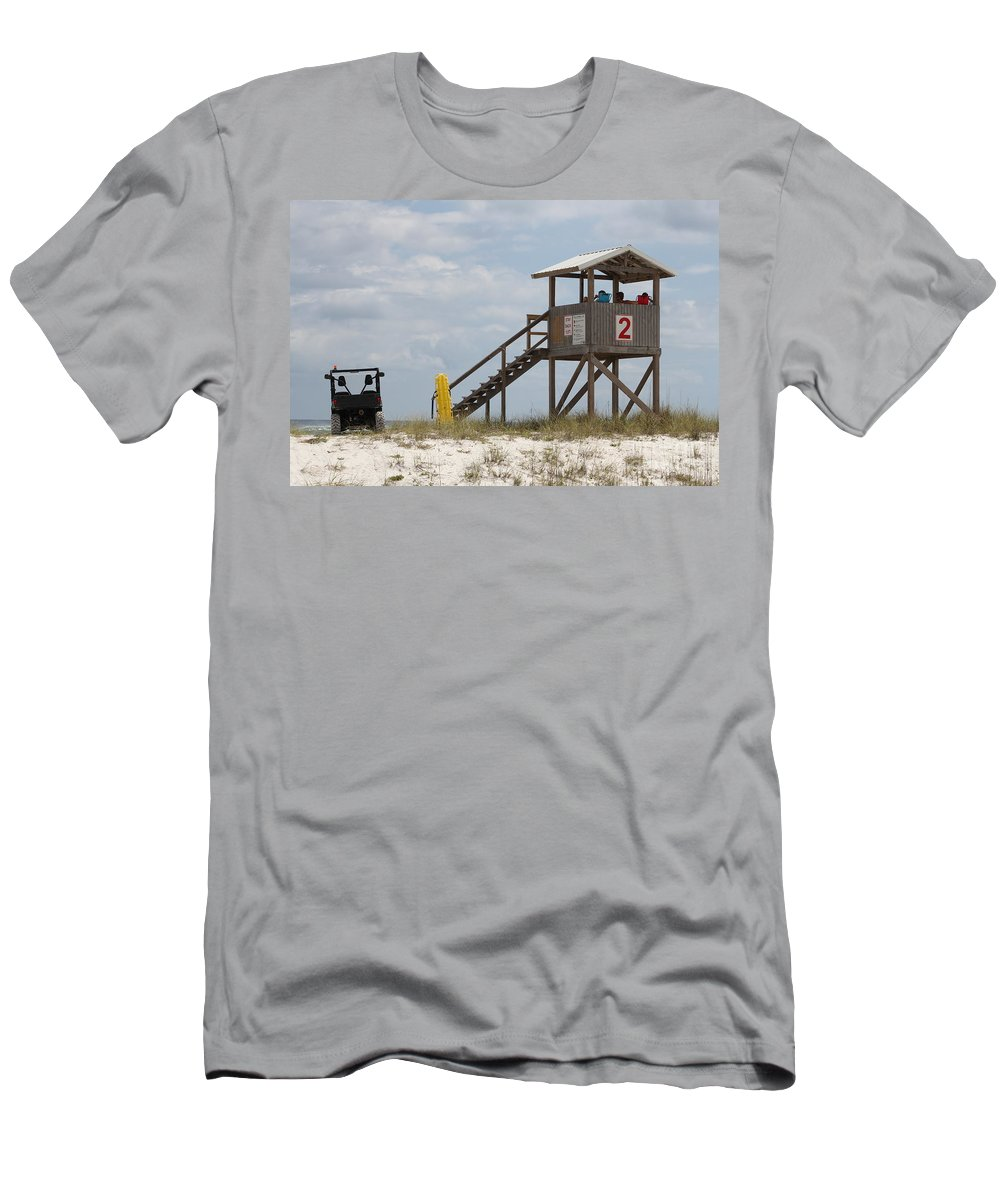 Ft.walton Beach Men's T-Shirt (Athletic Fit) featuring the photograph Life Guards On Duty by Michelle Powell
