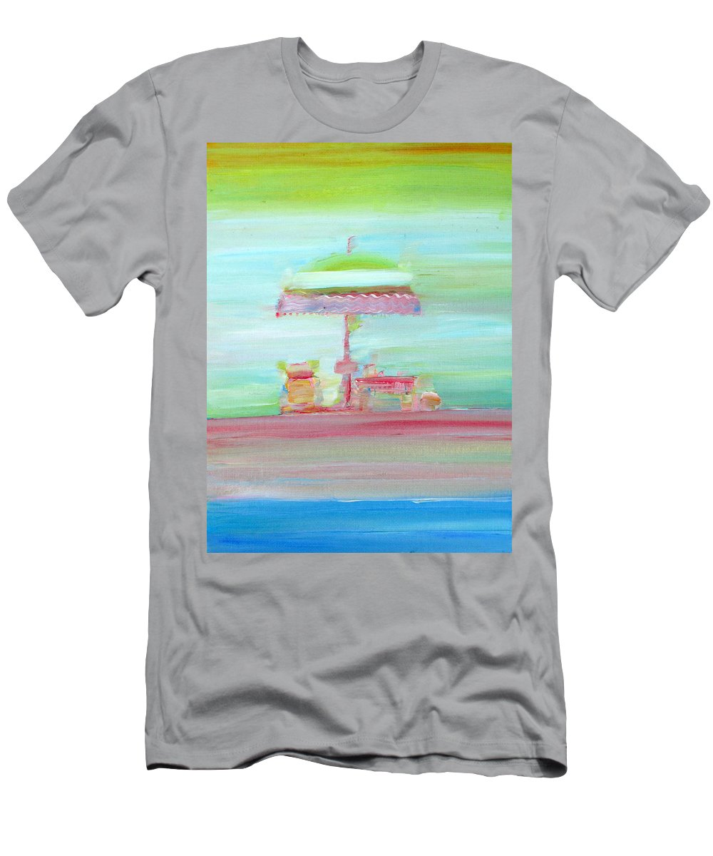 Beach Men's T-Shirt (Athletic Fit) featuring the painting Life On The Beach by Fabrizio Cassetta