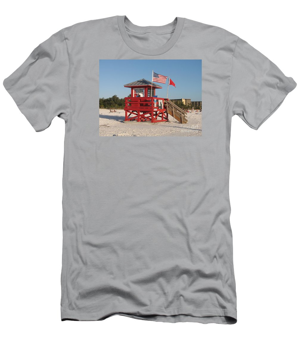 Beach Men's T-Shirt (Athletic Fit) featuring the photograph Lifeguard Siesta Beach by Christiane Schulze Art And Photography