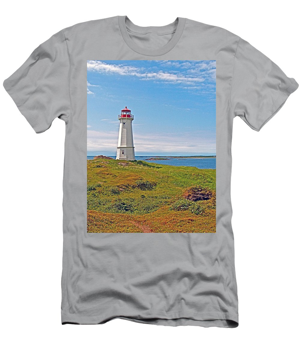 Lighthouse In Louisbourgh On Cape Breton Island Men's T-Shirt (Athletic Fit) featuring the photograph Lighthouse In Louisbourgh-ns by Ruth Hager