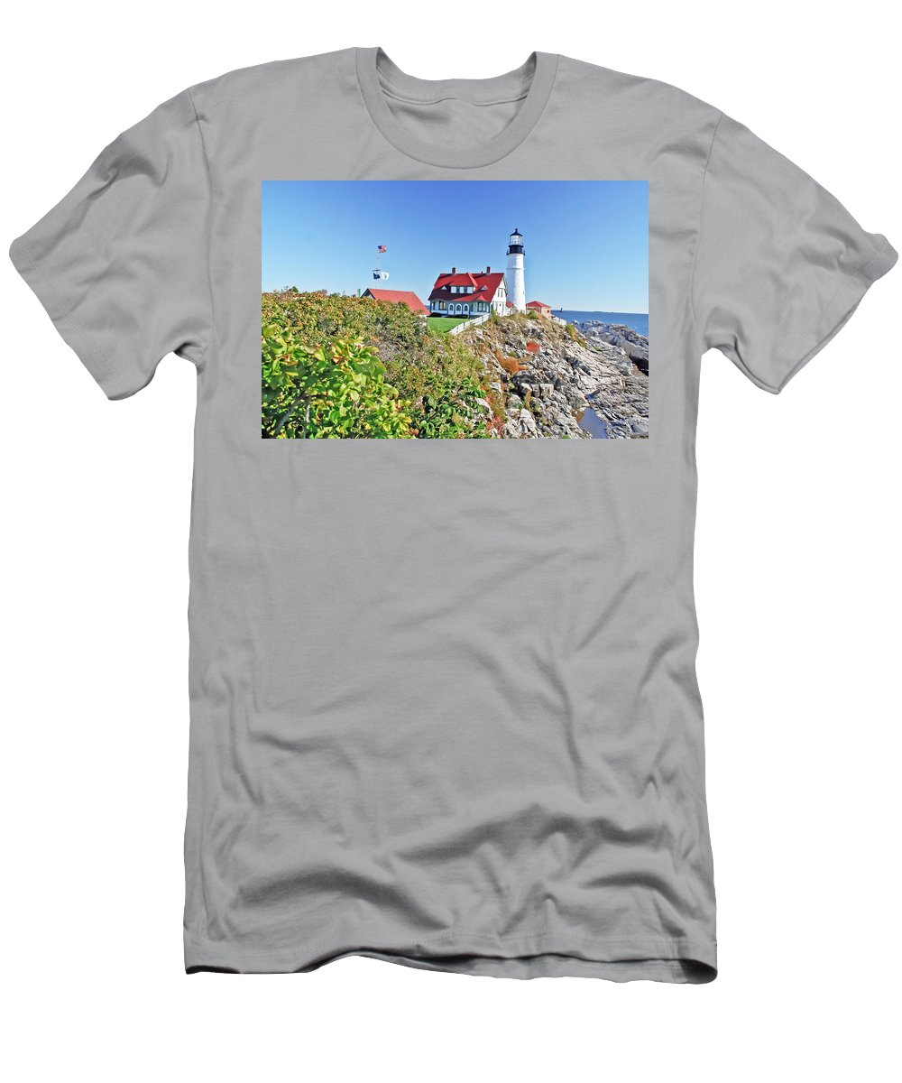 Travel Men's T-Shirt (Athletic Fit) featuring the photograph Lighthouse Of Maine by Elvis Vaughn