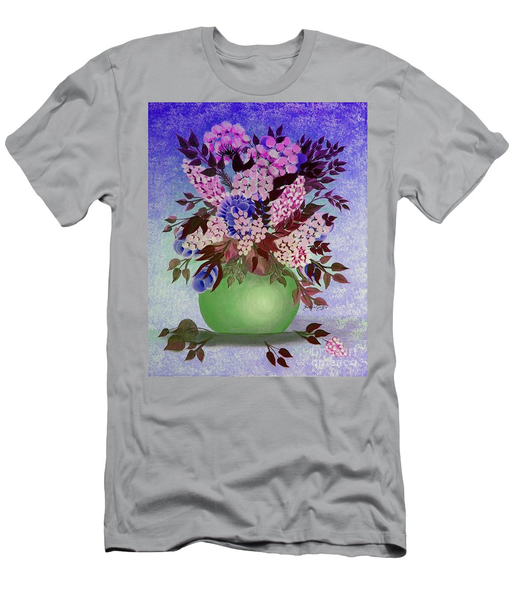 Lilacs And Queen Anne's Lace In Pink And Purple Men's T-Shirt (Athletic Fit) featuring the painting Lilacs And Queen Anne's Lace In Pink And Purple by Barbara Griffin