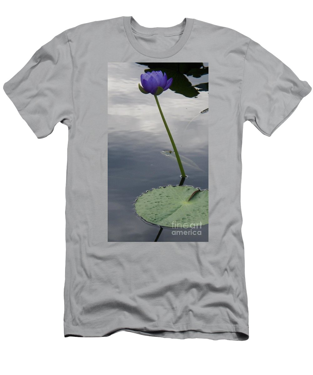Water Lilies Men's T-Shirt (Athletic Fit) featuring the photograph Lily On Stem by Eric Schiabor