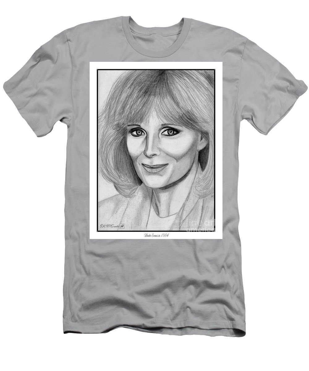 Linda Evans Men's T-Shirt (Athletic Fit) featuring the drawing Linda Evans In 1984 by J McCombie