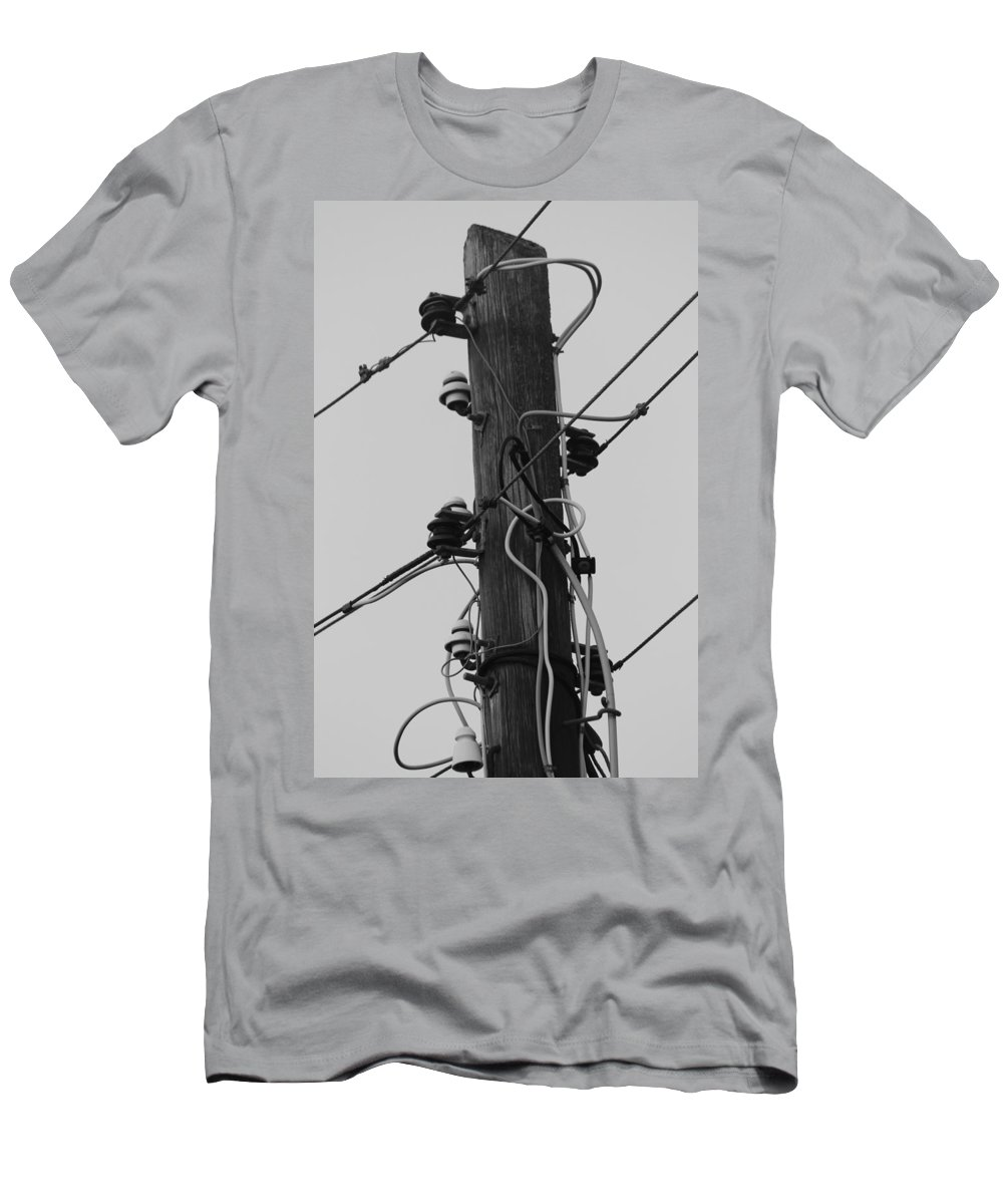 Telegraph Pole Men's T-Shirt (Athletic Fit) featuring the photograph Lines Of Communication by Robert Phelan