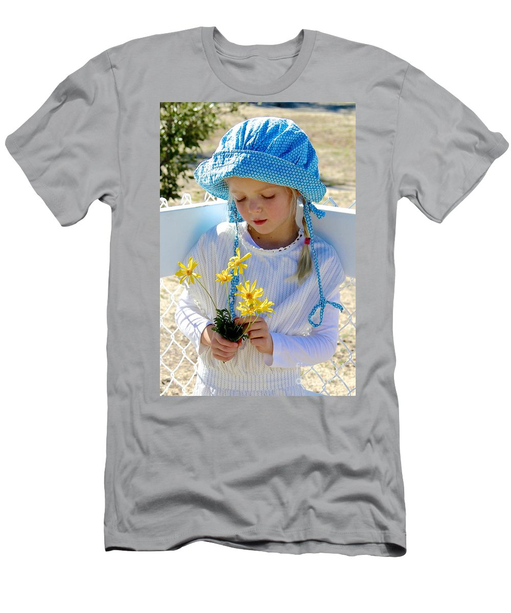 Little Girl With Bonnet In Garden Men's T-Shirt (Athletic Fit) featuring the photograph Little Girl Blue by Suzanne Oesterling