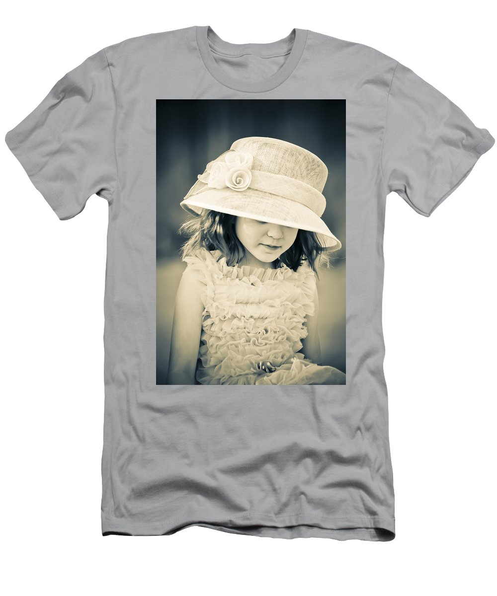 Girl Men's T-Shirt (Athletic Fit) featuring the mixed media Little Lady by Trish Tritz