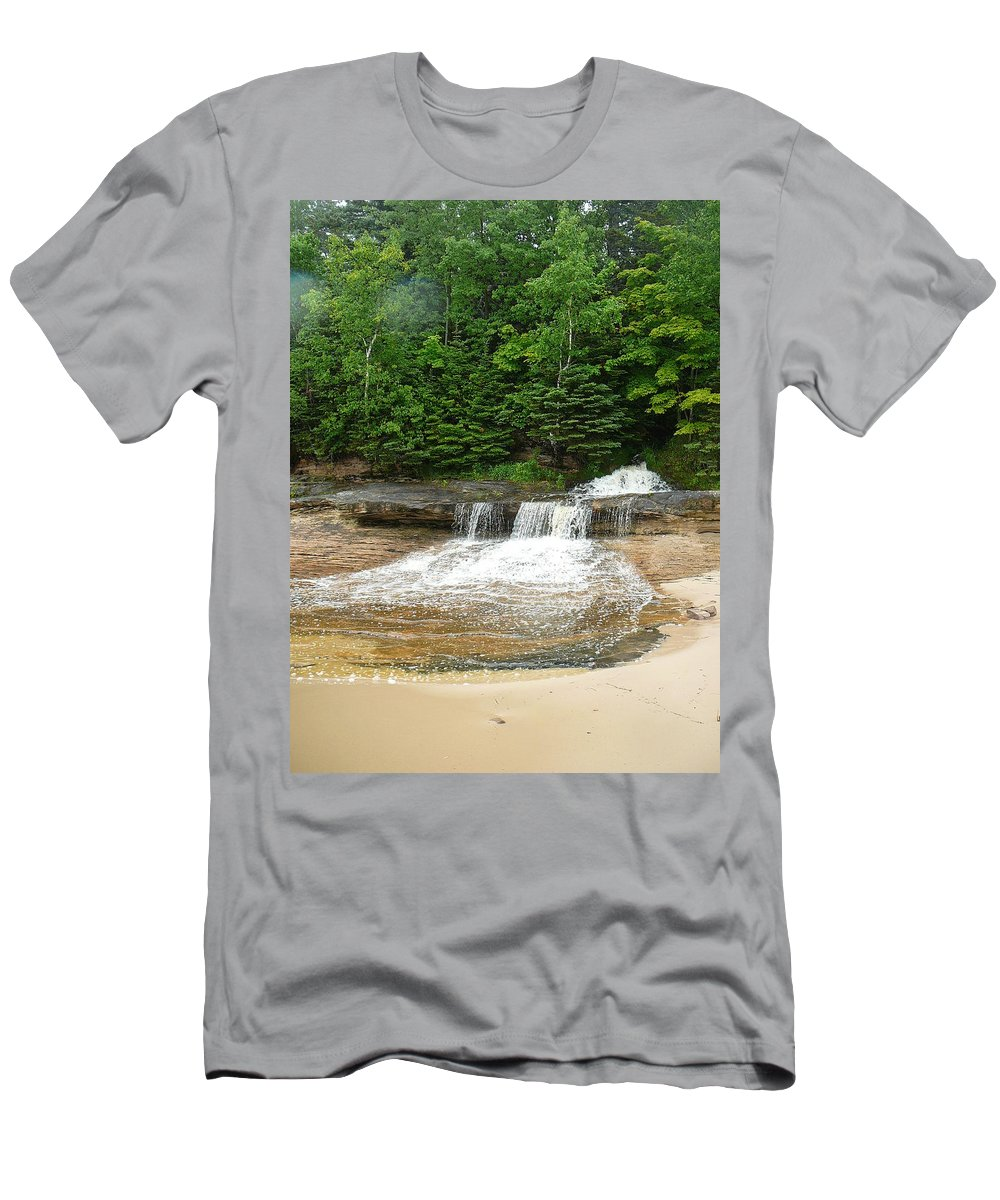Upper Peninsula Men's T-Shirt (Athletic Fit) featuring the photograph Little Miner Falls by Two Bridges North