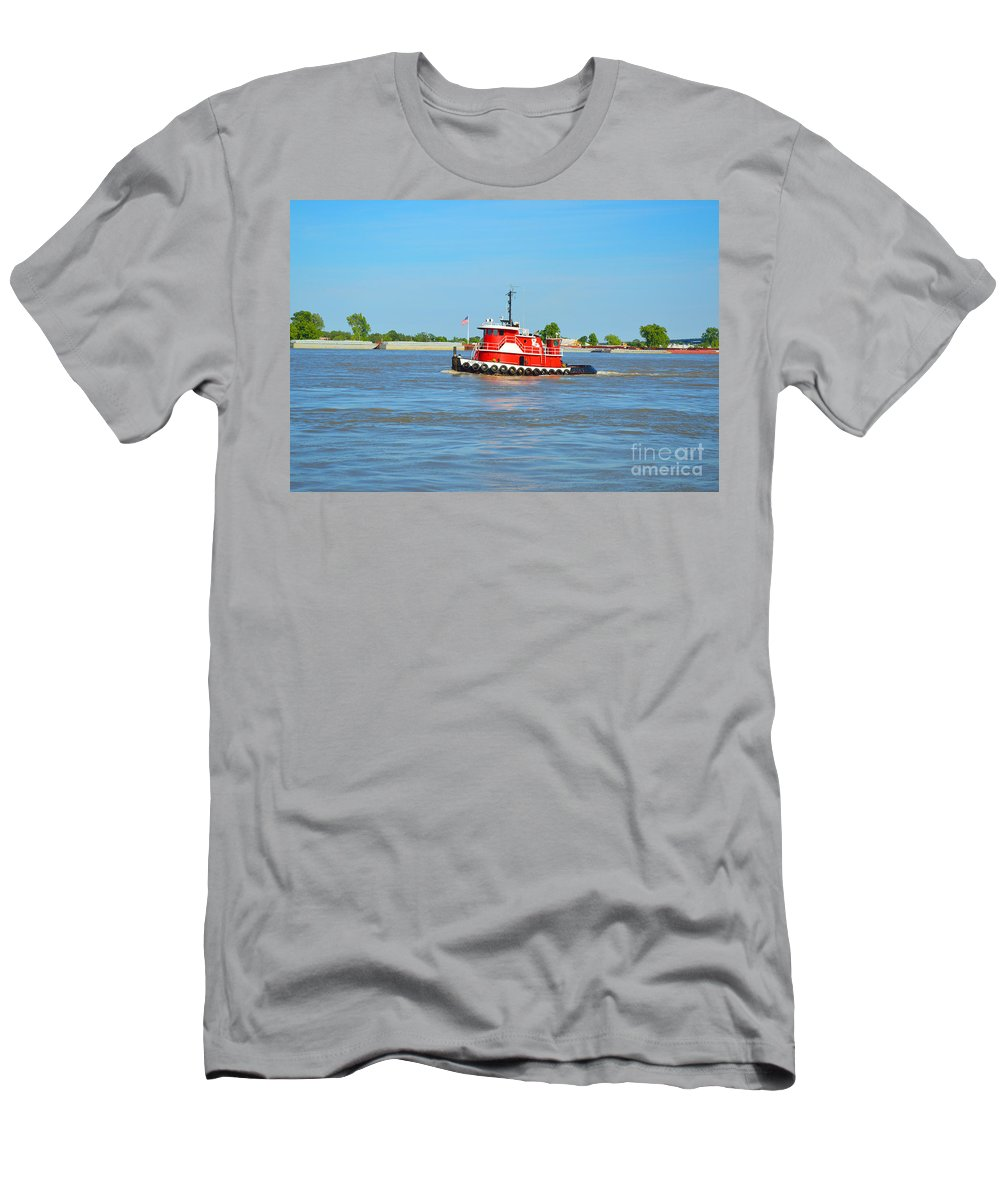 Boat Men's T-Shirt (Athletic Fit) featuring the photograph Little Red Boat On The Mighty Mississippi by Alys Caviness-Gober