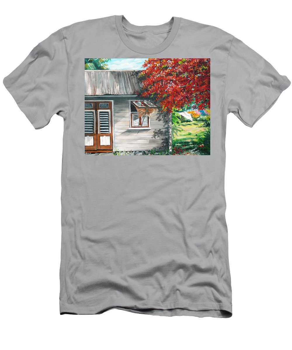 Caribbean Painting Typical Country House In The Caribbean Or West Indian Islands With Flamboyant Tree Tropical Painting Men's T-Shirt (Athletic Fit) featuring the painting Little West Indian House 1 by Karin Dawn Kelshall- Best