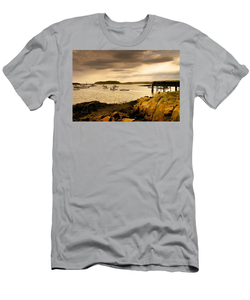 Atlantic Ocean Men's T-Shirt (Athletic Fit) featuring the photograph Lobster Boats Cape Porpoise Maine by Bob Orsillo