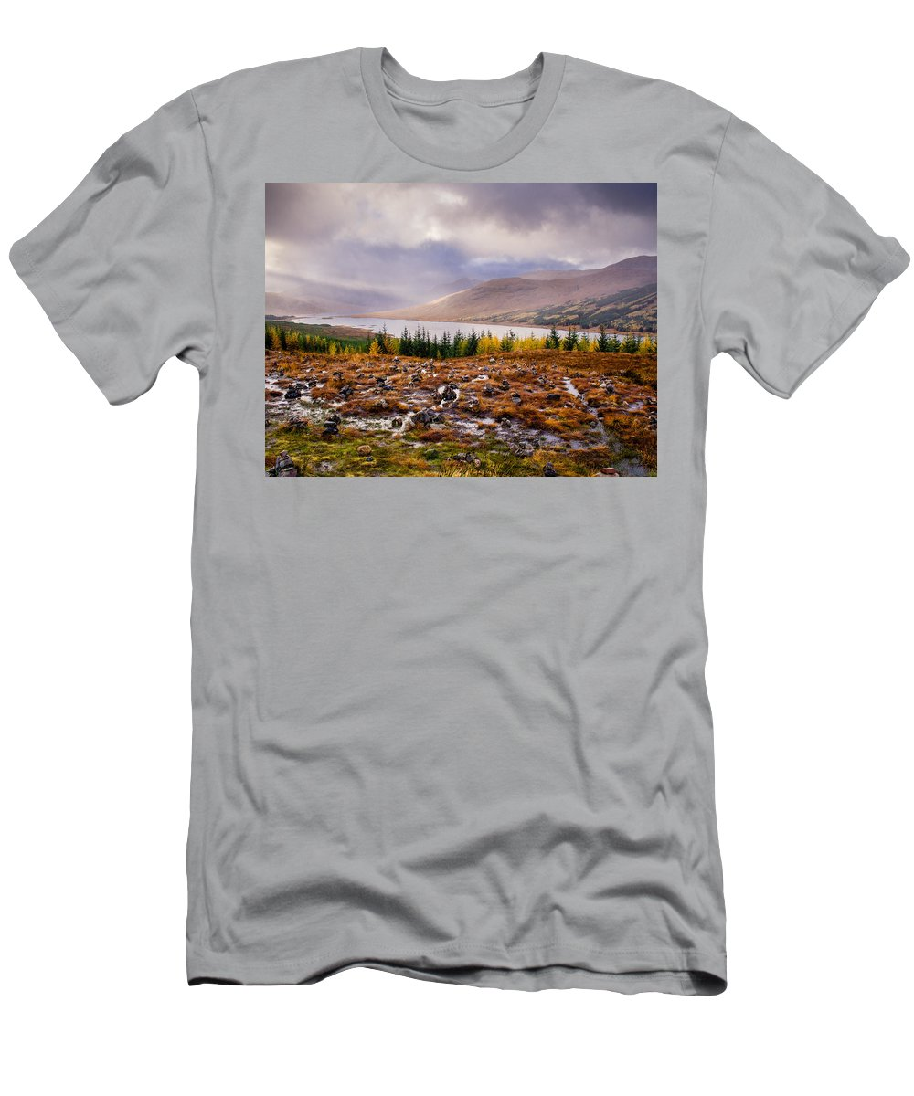 Autumn Men's T-Shirt (Athletic Fit) featuring the photograph Loch Loyne Cairns by Mark Llewellyn