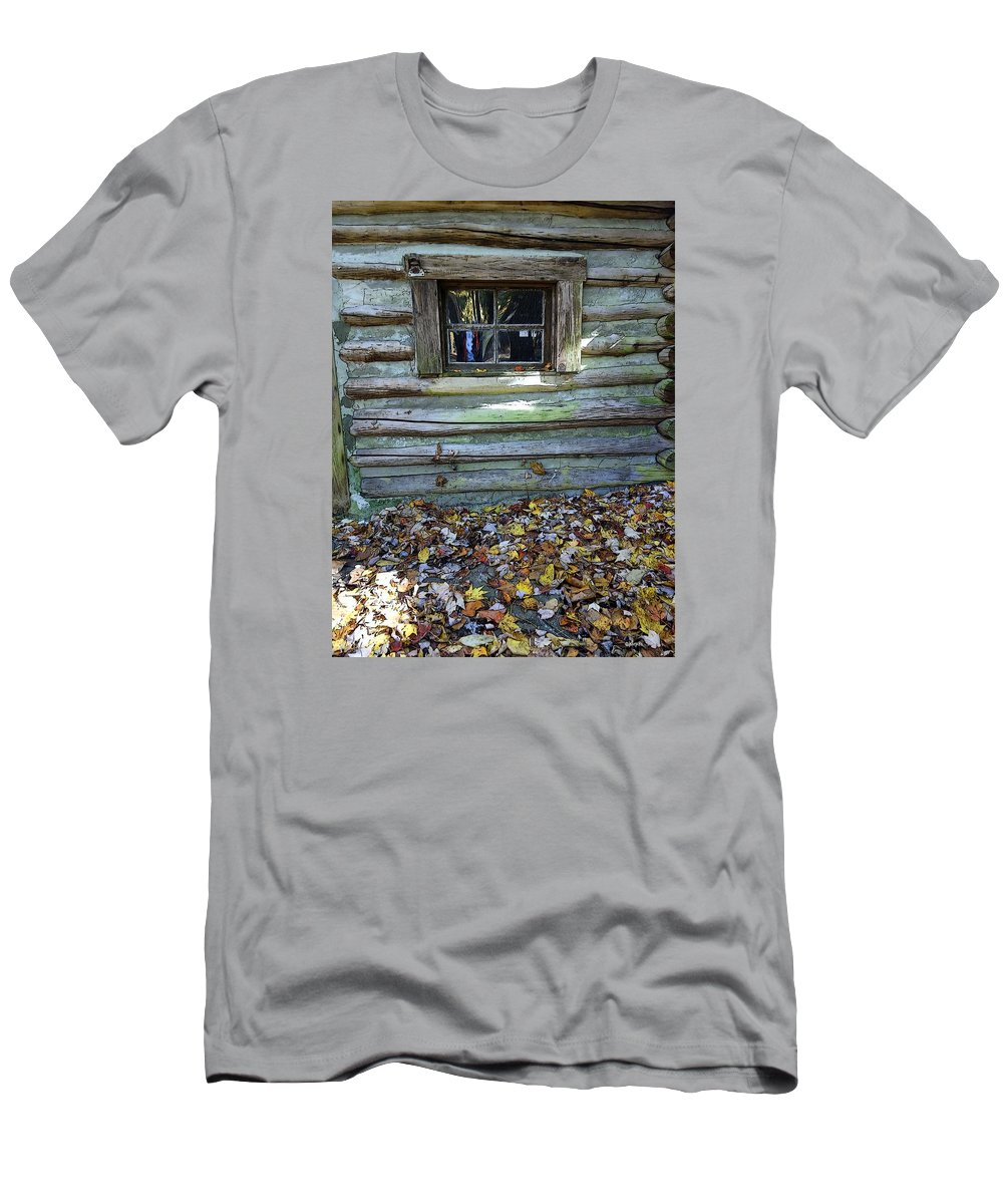 Log Cabin Men's T-Shirt (Athletic Fit) featuring the photograph Log Cabin Window And Fall Leaves by Rebecca Korpita