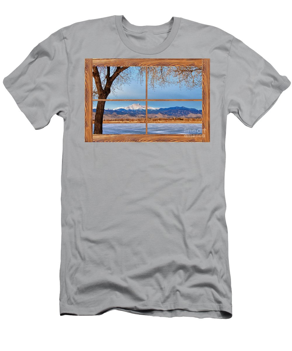 Windows Men's T-Shirt (Athletic Fit) featuring the photograph Longs Peak Across The Lake Barn Wood Picture Window Frame View by James BO Insogna