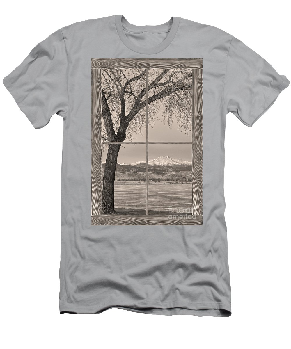 Colorado Men's T-Shirt (Athletic Fit) featuring the photograph Longs Peak Winter Lake Barn Wood Picture Window Sepia View by James BO Insogna