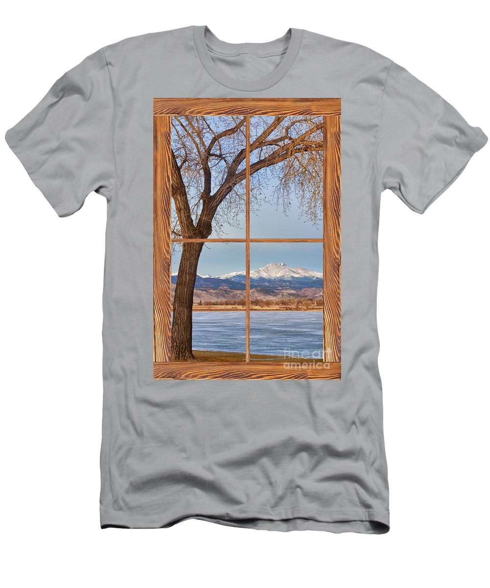 Colorado Men's T-Shirt (Athletic Fit) featuring the photograph Longs Peak Winter Lake Barn Wood Picture Window View by James BO Insogna