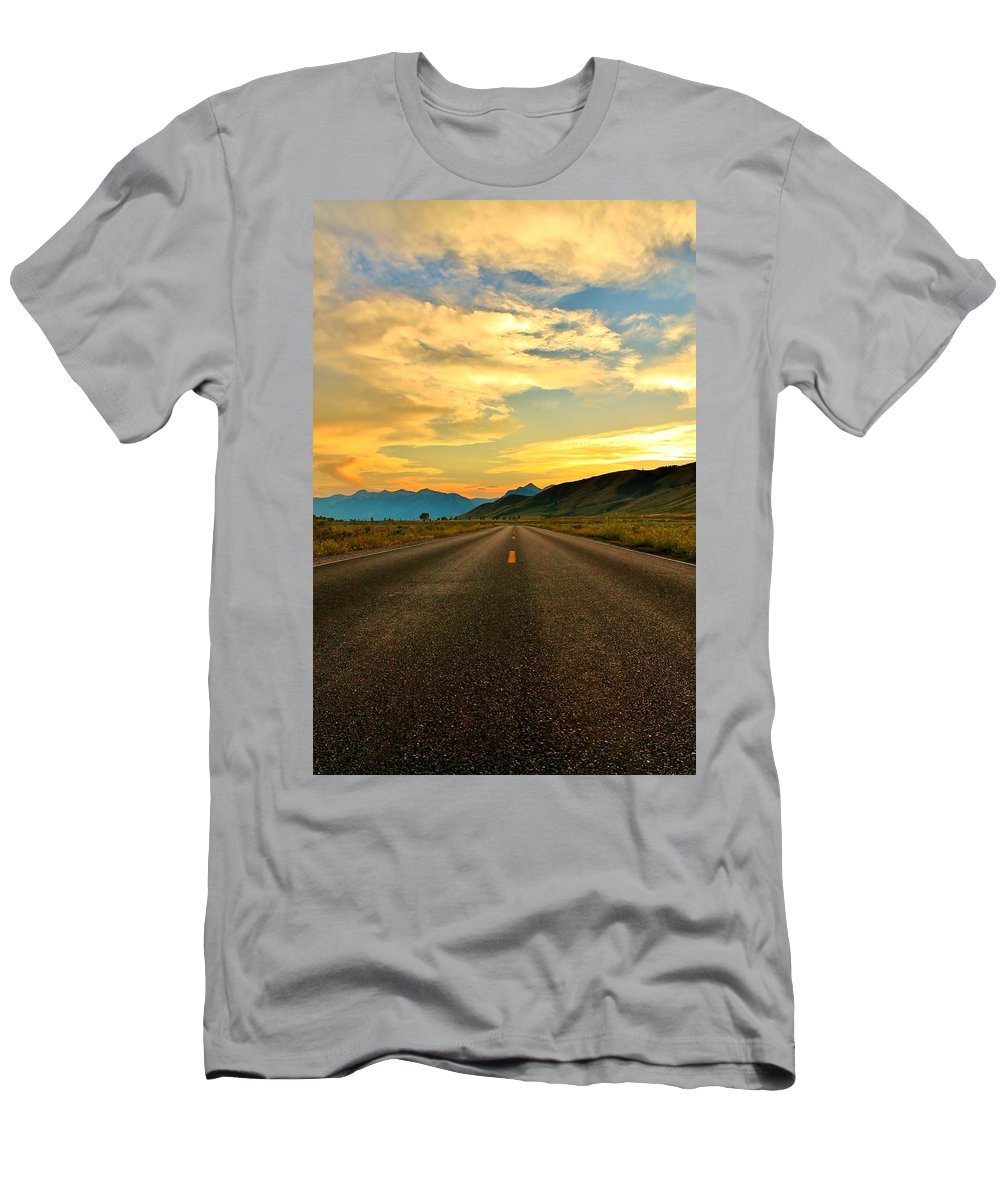 Open Road Men's T-Shirt (Athletic Fit) featuring the photograph Looking Ahead by Catie Canetti