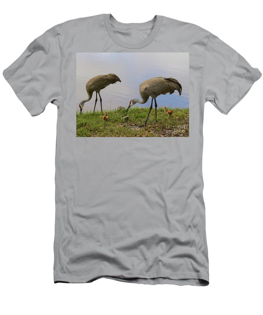 Sandhill Cranes Men's T-Shirt (Athletic Fit) featuring the photograph Looking Around by Zina Stromberg