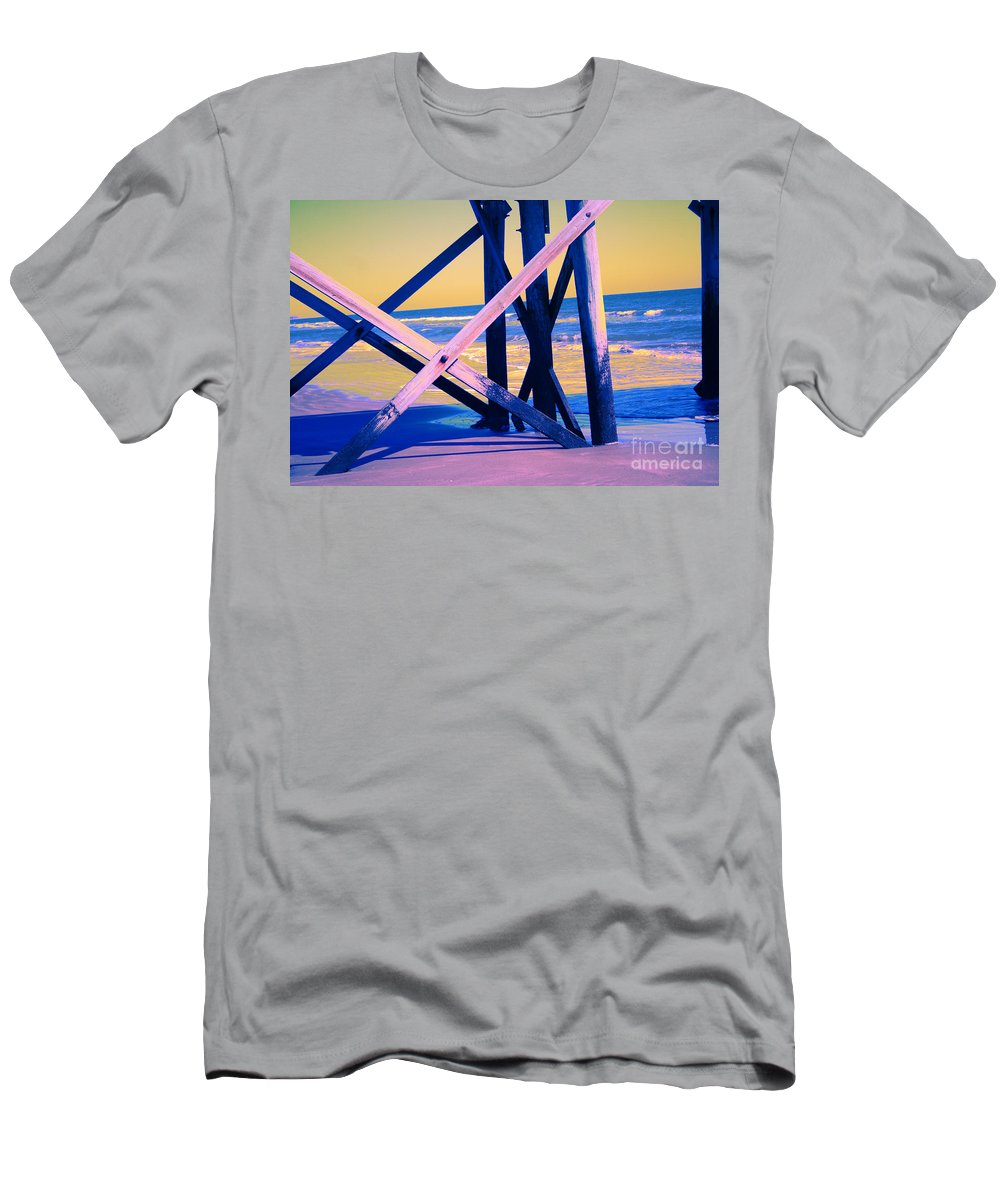 Men's T-Shirt (Athletic Fit) featuring the photograph looking On - Neon by Jamie Lynn