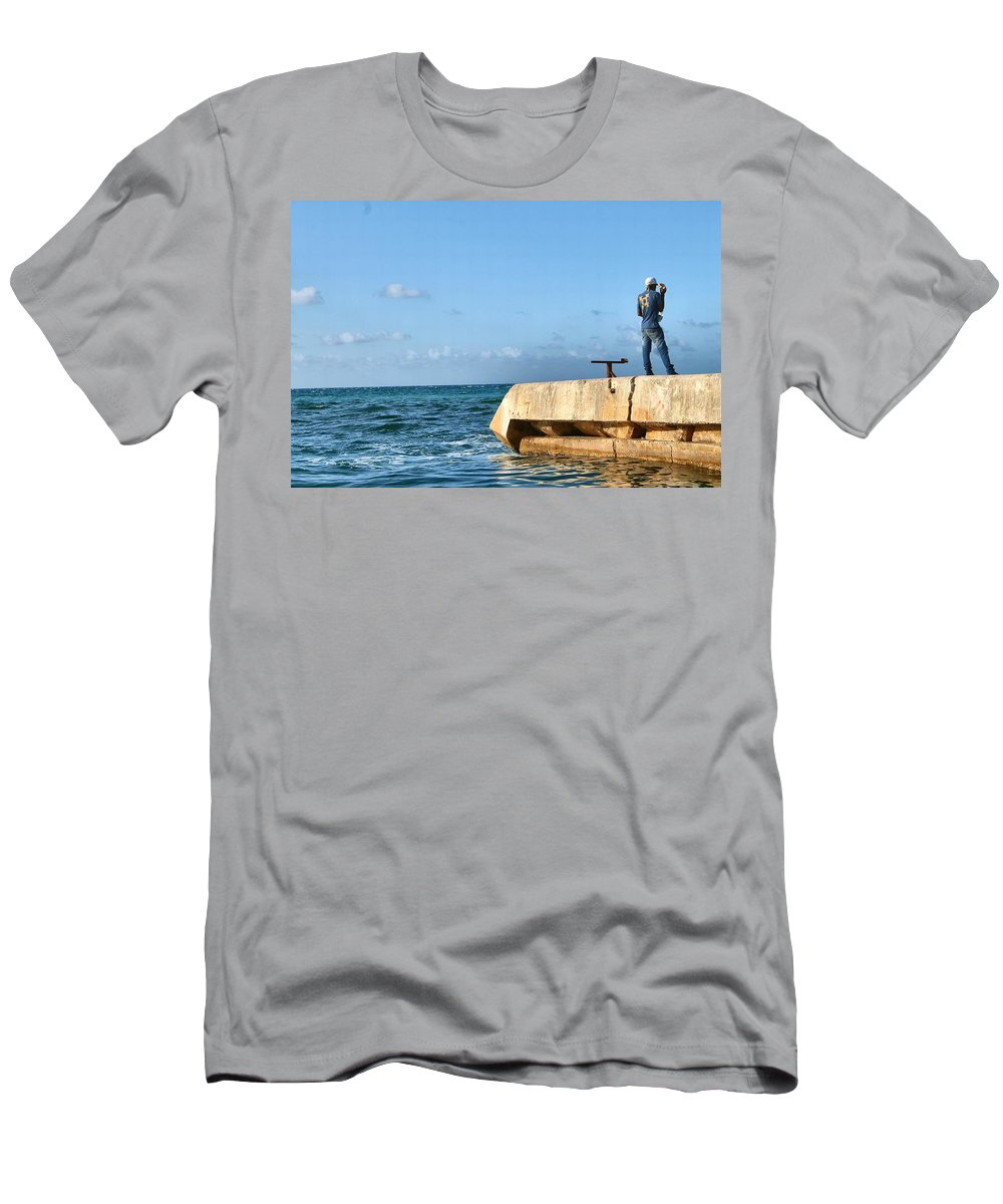 Water Men's T-Shirt (Athletic Fit) featuring the photograph Looking Out To Sea by Debbie Levene