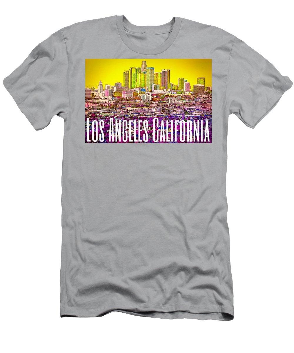 Los Angeles Men's T-Shirt (Athletic Fit) featuring the digital art Los Angeles Postcard by Michelle Dallocchio