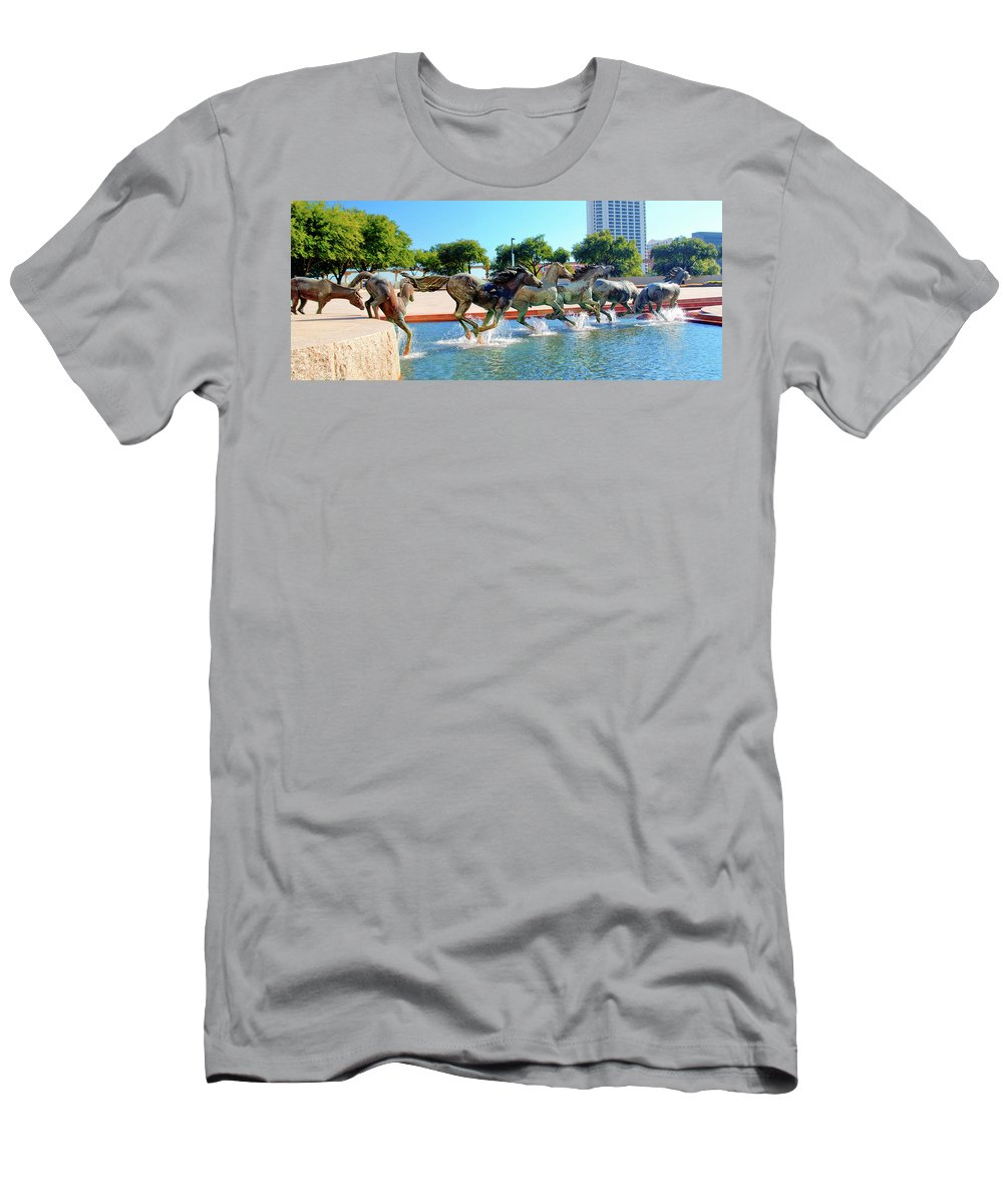 Sculptures Men's T-Shirt (Athletic Fit) featuring the photograph Los Colinas Mustangs 14698 by Guy Whiteley