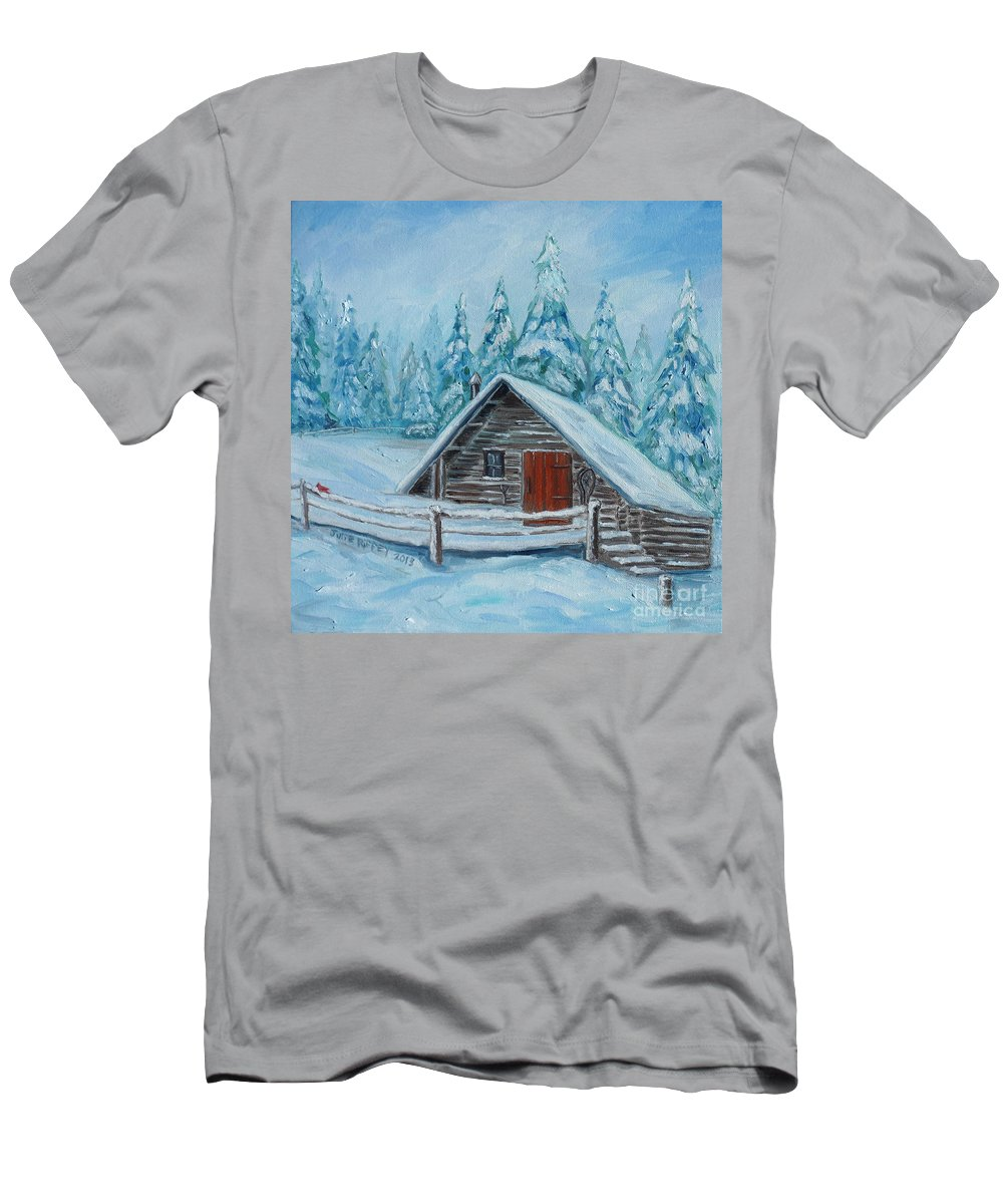Cabin Men's T-Shirt (Athletic Fit) featuring the painting Lost Mountain Cabin by Julie Brugh Riffey