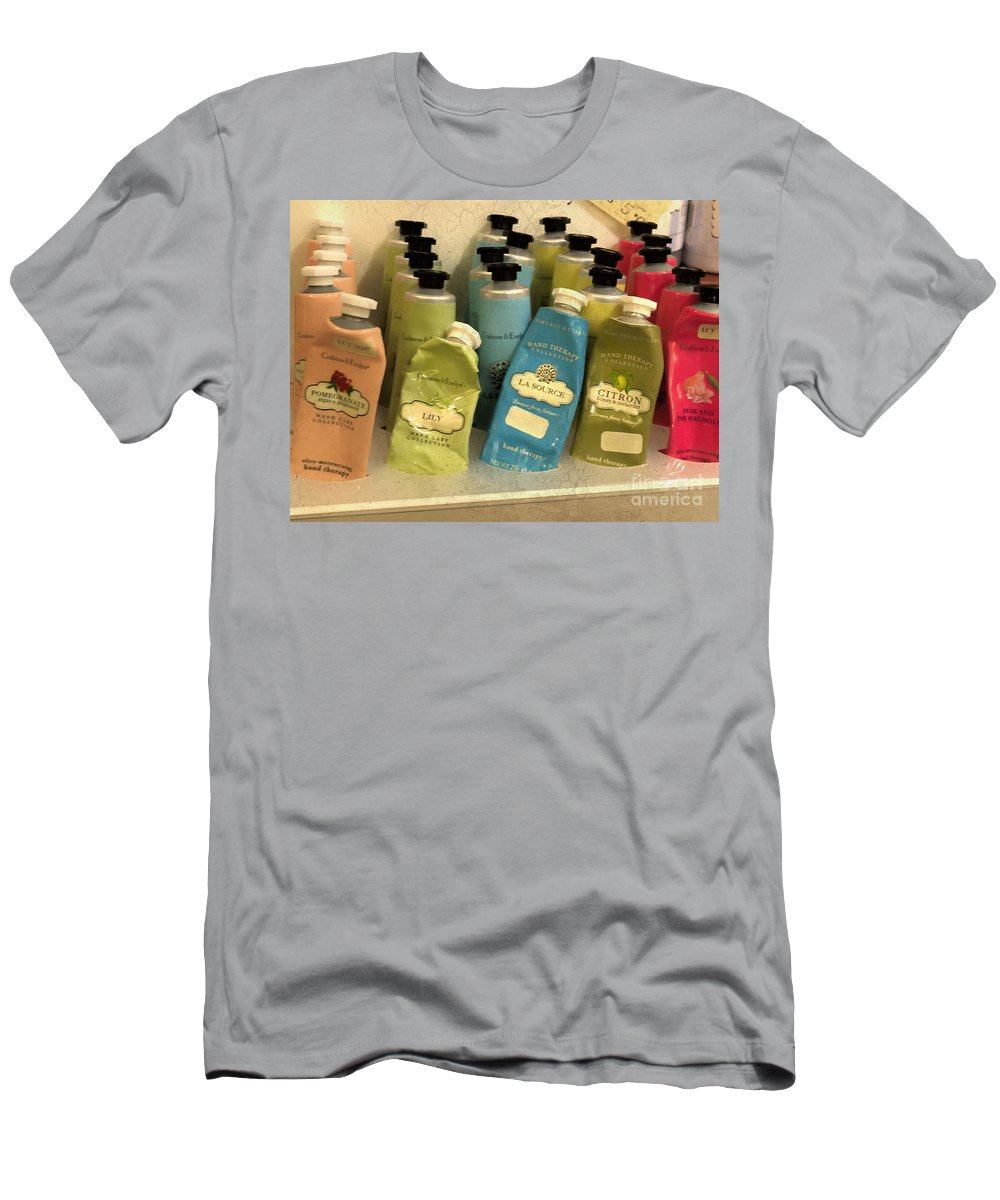 Lotions Men's T-Shirt (Athletic Fit) featuring the photograph Lotions And Potions by Gillian Singleton
