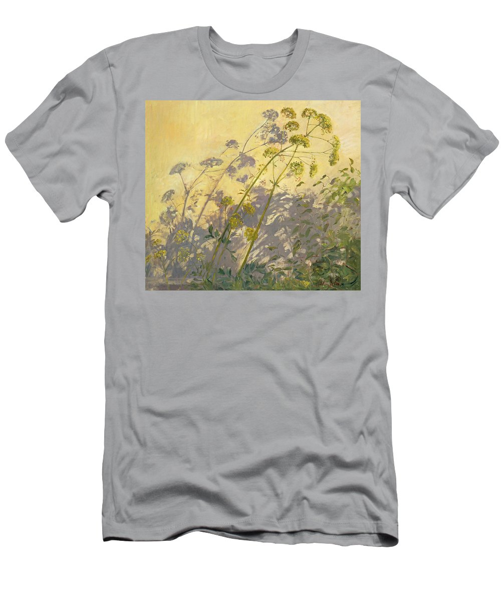 Shadow; Flower; Wild; Plant Men's T-Shirt (Athletic Fit) featuring the painting Lovage Clematis And Shadows by Timothy Easton