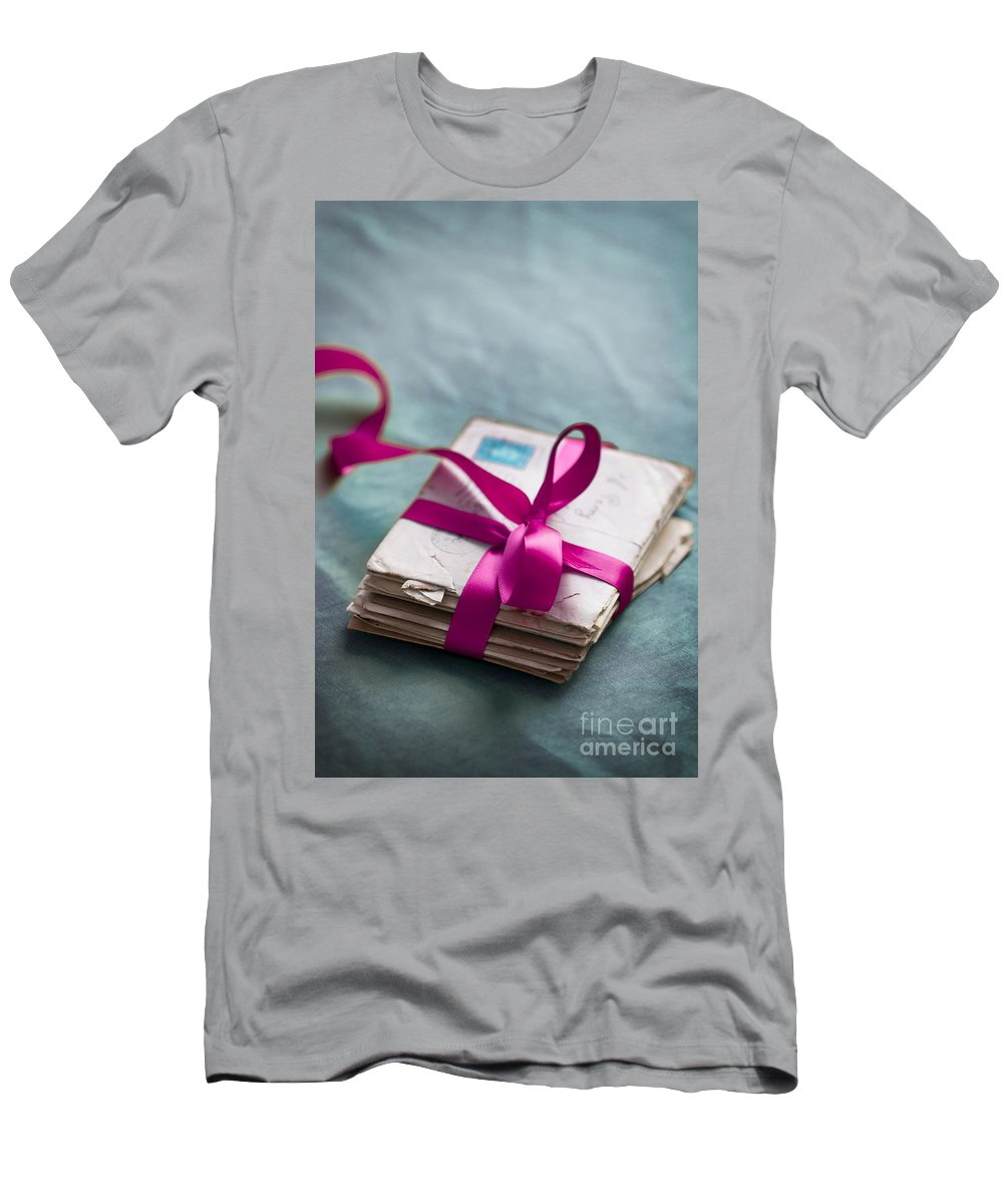 Letter Men's T-Shirt (Athletic Fit) featuring the photograph Love Letters Tied With Ribbon by Lee Avison