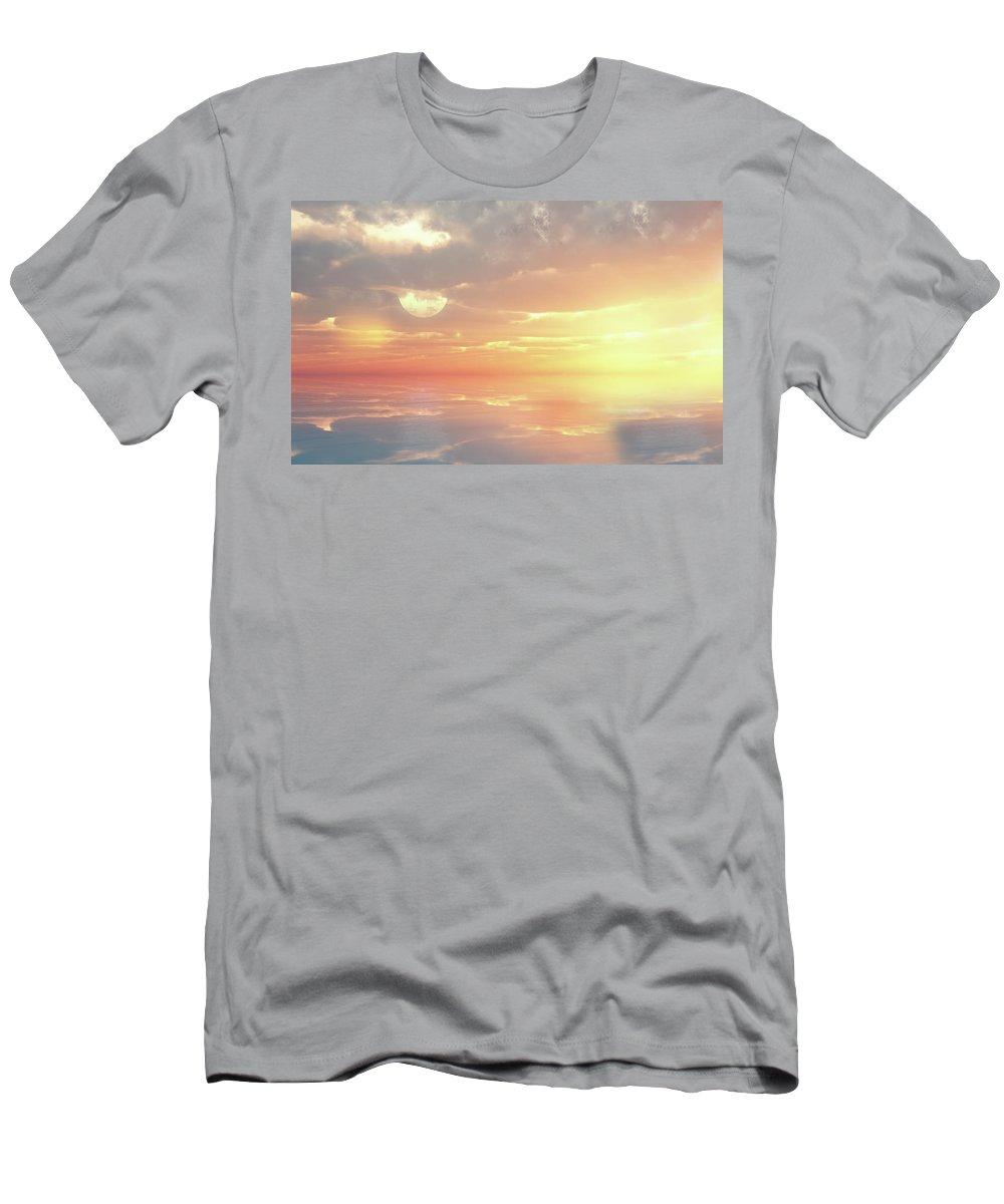Sunset Men's T-Shirt (Athletic Fit) featuring the digital art Lovers Ocean by Georgiana Romanovna