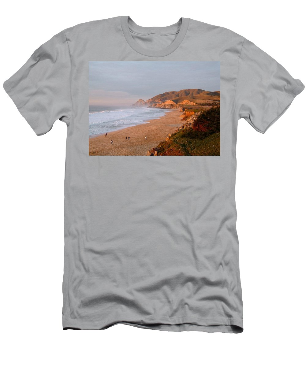 Route 1 Men's T-Shirt (Athletic Fit) featuring the photograph Low Sun On The Pacific by Susan Wyman