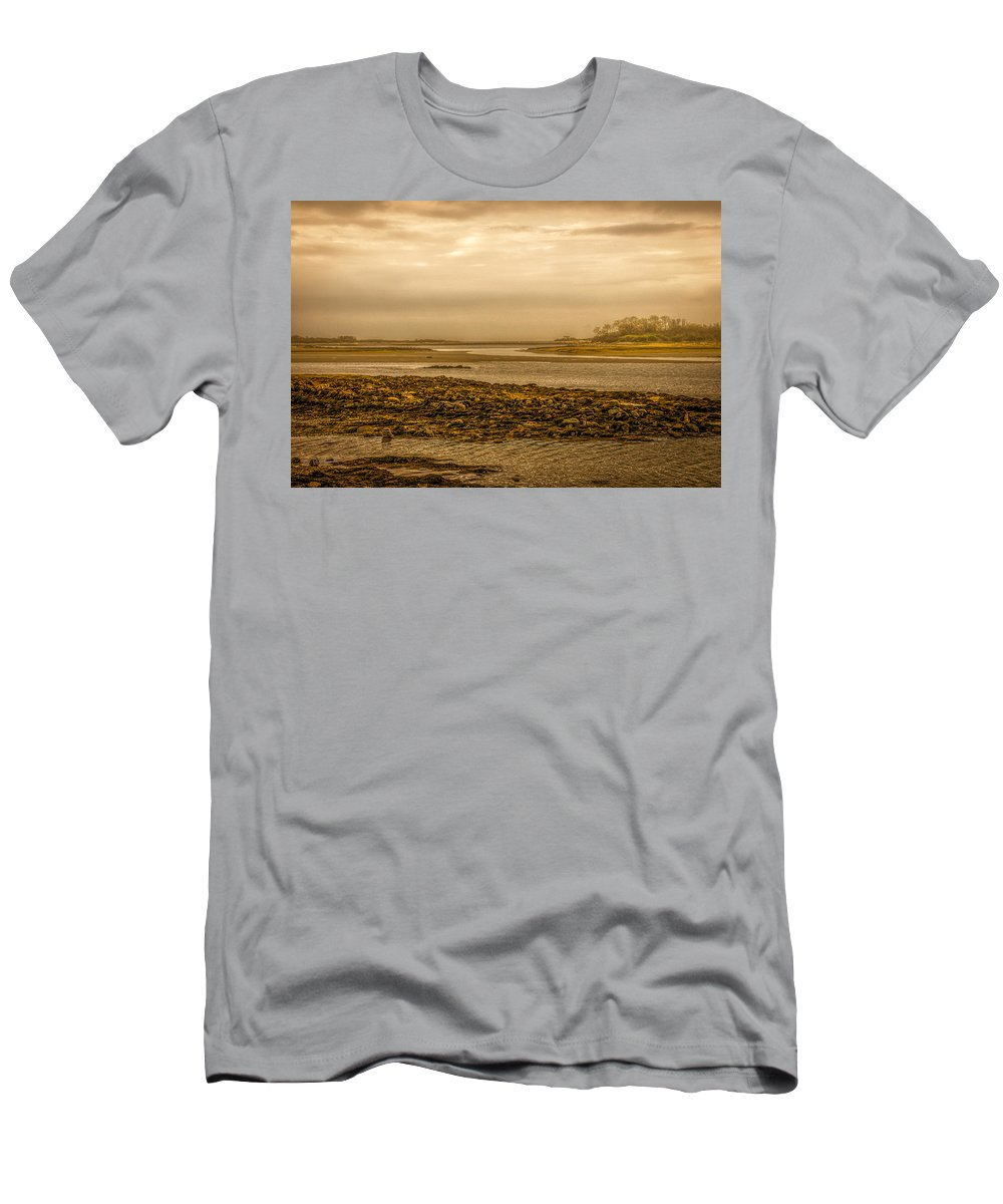 Atlantic Ocean Men's T-Shirt (Athletic Fit) featuring the photograph Low Tide Cape Porpoise Maine by Bob Orsillo