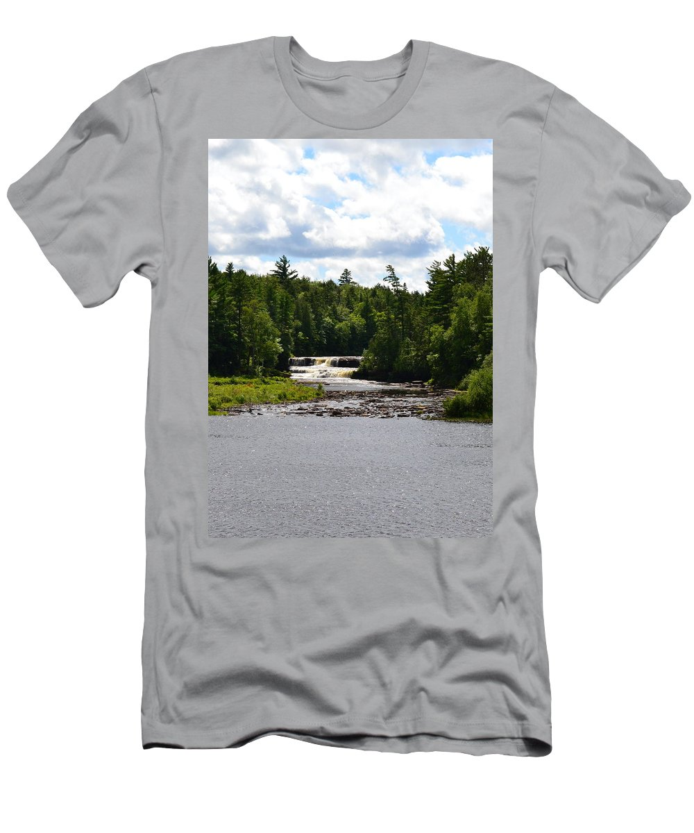 Rivers Men's T-Shirt (Athletic Fit) featuring the photograph Lower Tahquamenon Falls L by Michelle Calkins