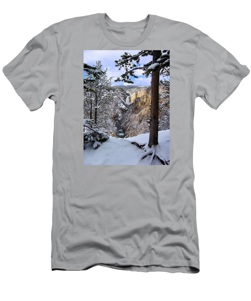 Waterfall Men's T-Shirt (Athletic Fit) featuring the photograph Lower Yellowstone Falls In October by Robert Woodward
